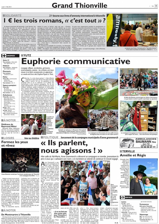 La Presse en parle - Marquise Chlorophylle les 9 et 10 mai à Yutz